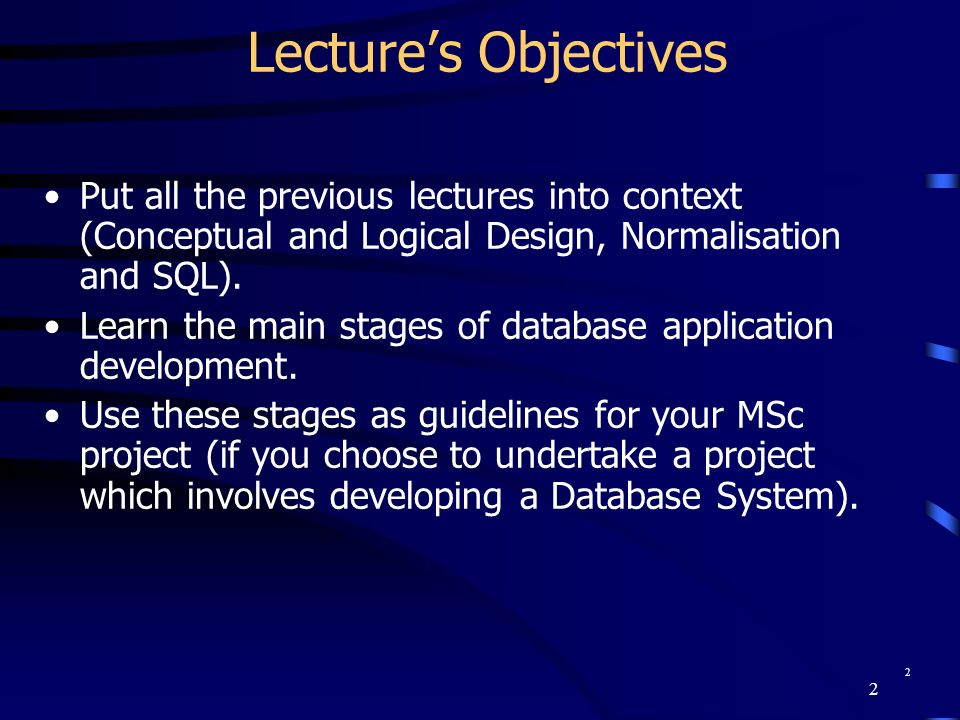 Chapter Name September 98. Lecture's Objectives. Put all the previous lectures into context (Conceptual and Logical Design, Normalisation and SQL).