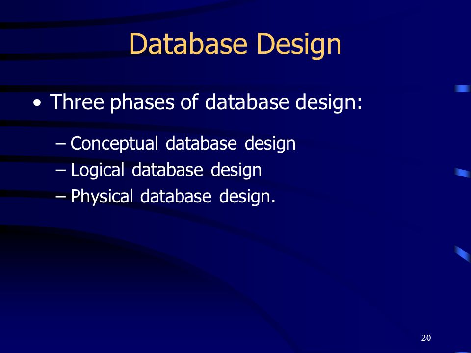 Database Design Three phases of database design:
