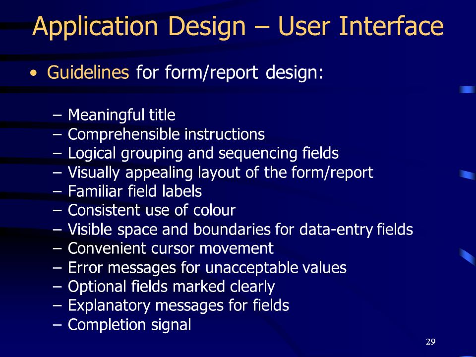 Application Design – User Interface