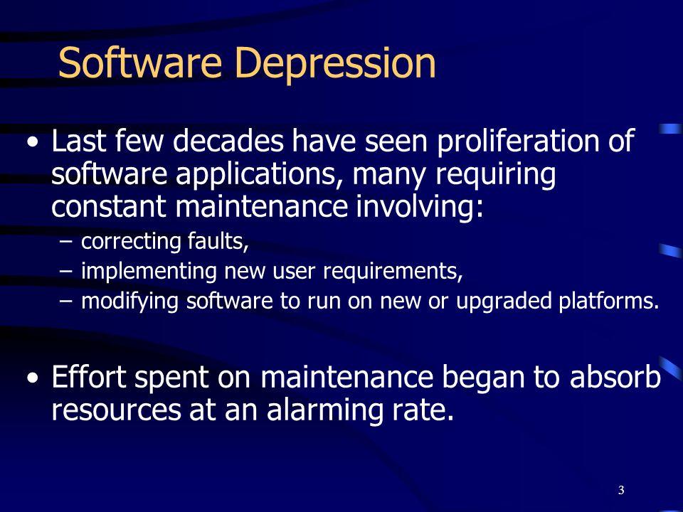 Software Depression Last few decades have seen proliferation of software applications, many requiring constant maintenance involving:
