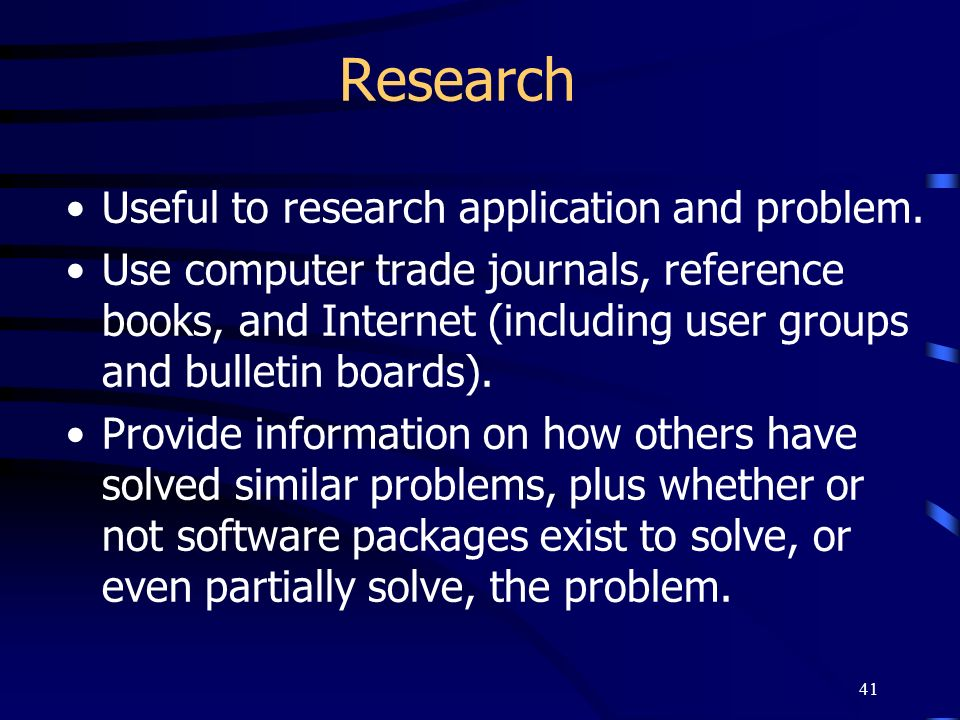 Research Useful to research application and problem.