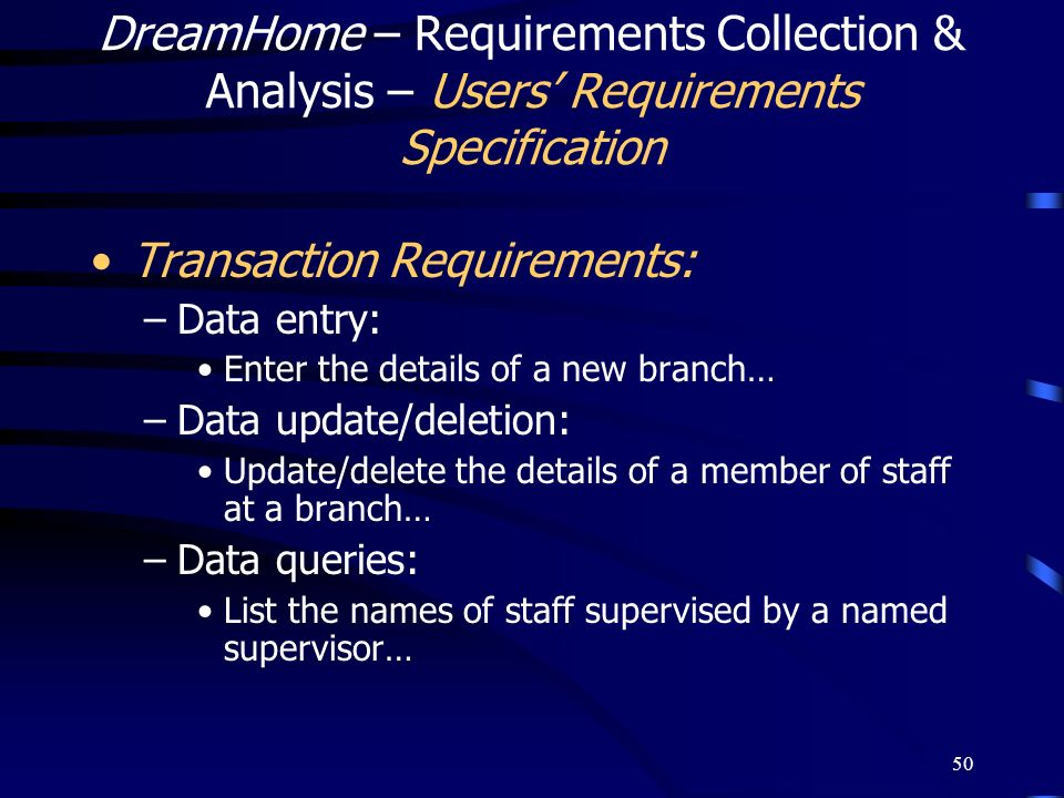 Transaction Requirements: