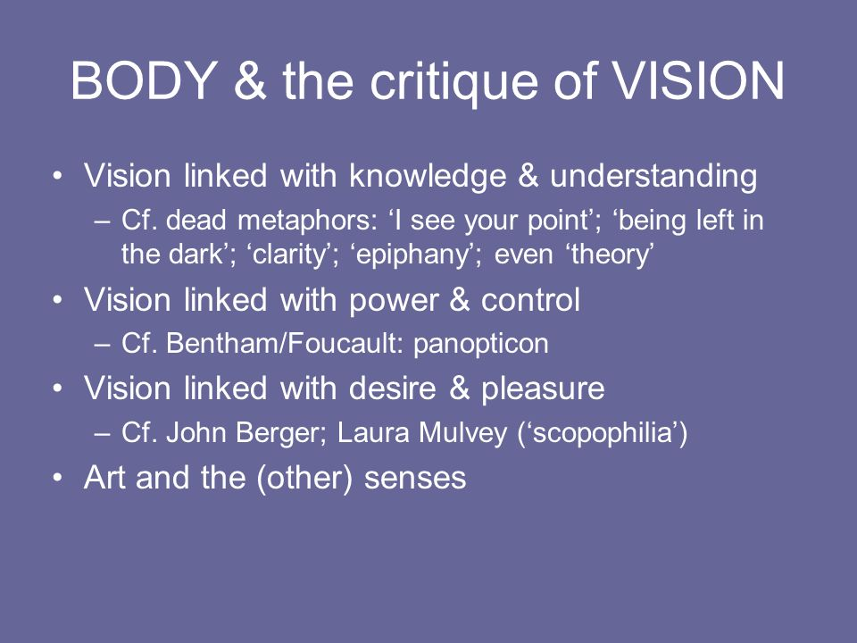 BODY & the critique of VISION