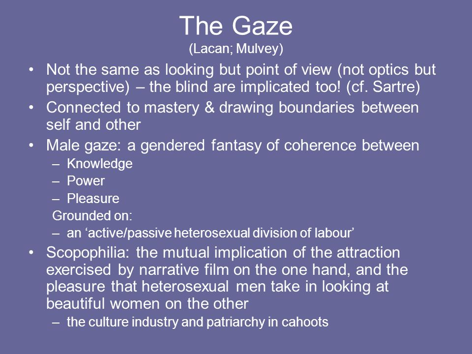 The Gaze (Lacan; Mulvey)