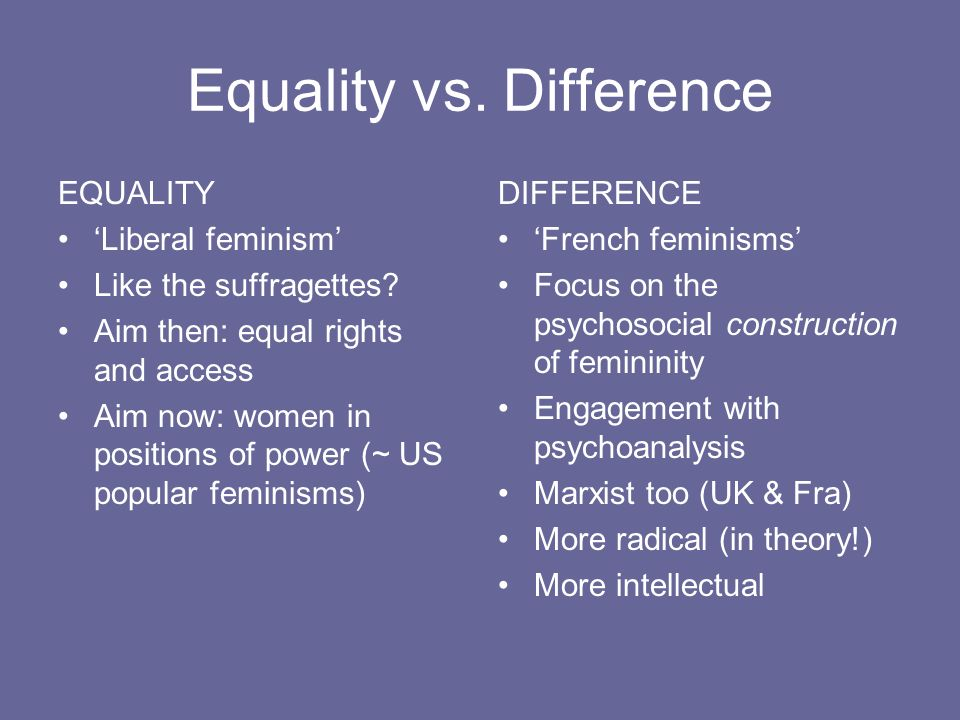 Equality vs. Difference
