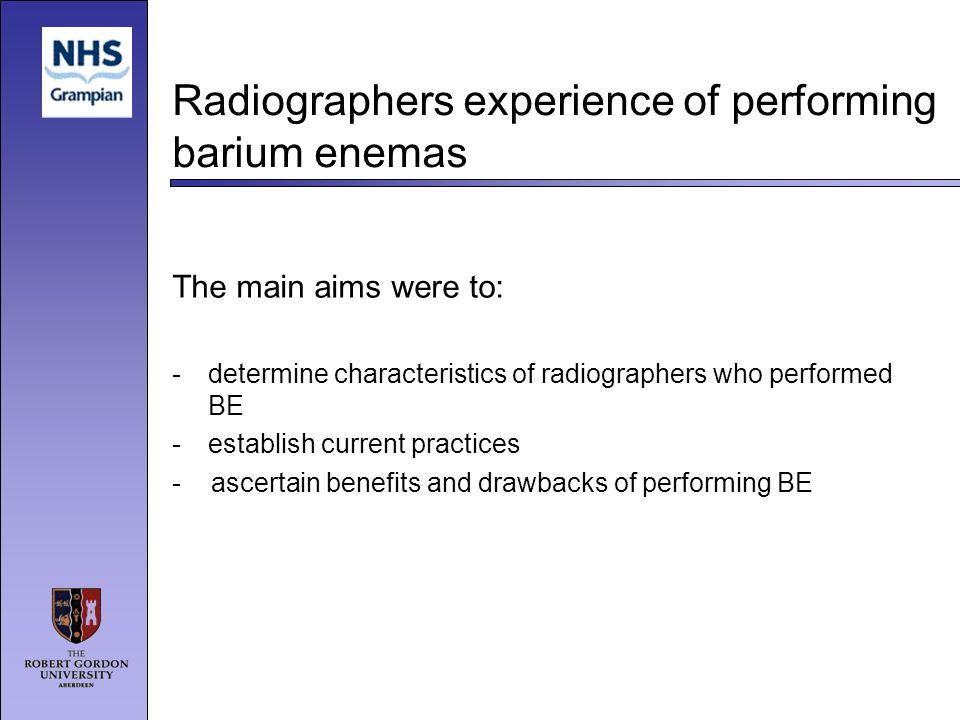 Radiographers experience of performing barium enemas