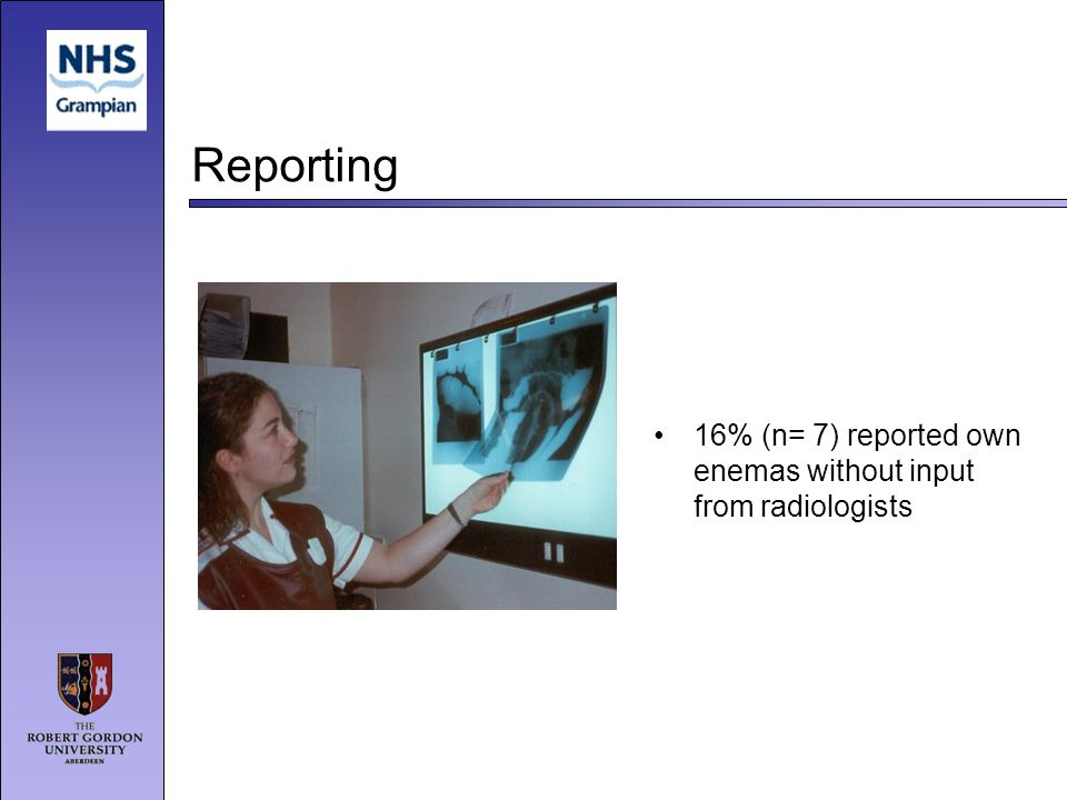 Reporting 16% (n= 7) reported own enemas without input from radiologists