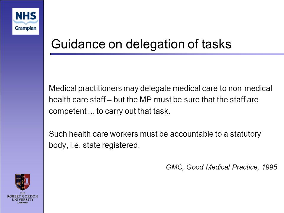 Guidance on delegation of tasks