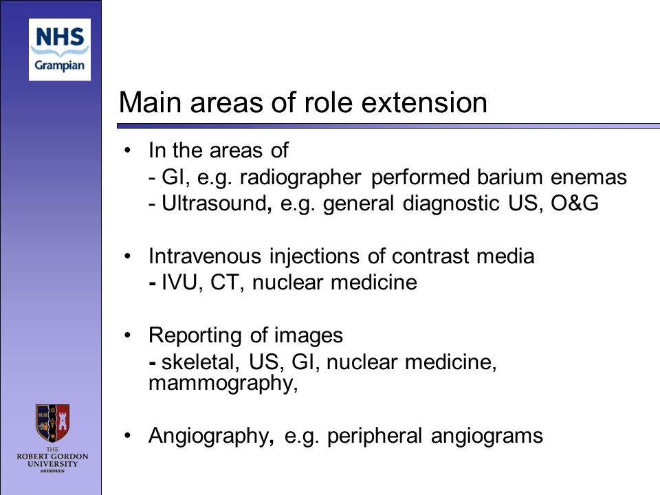 Main areas of role extension