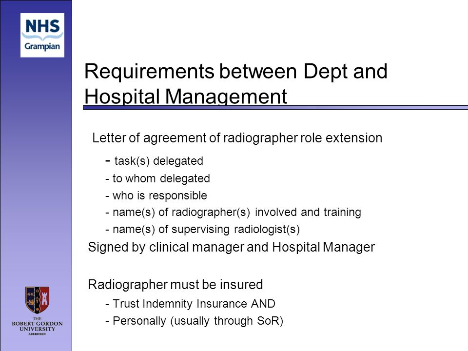 Requirements between Dept and Hospital Management