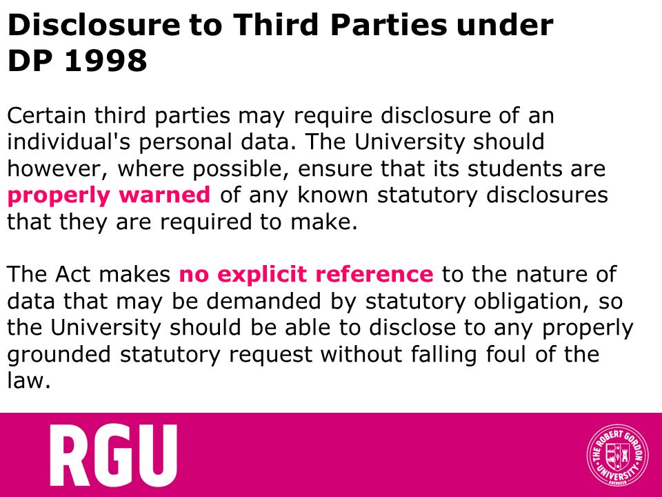 Disclosure to Third Parties under DP 1998