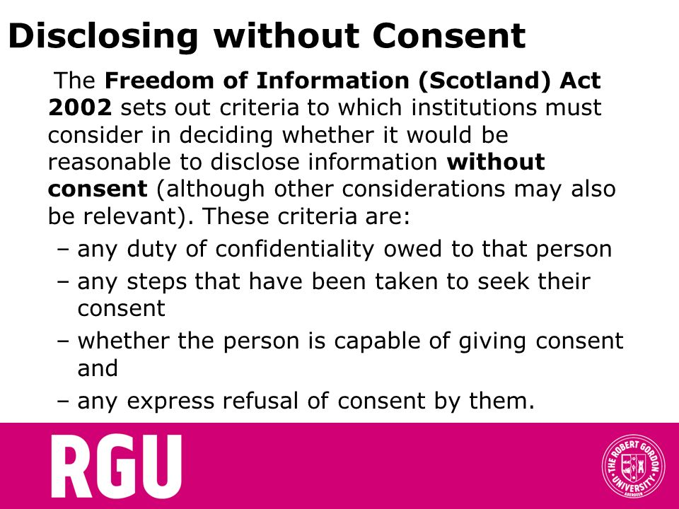 Disclosing without Consent