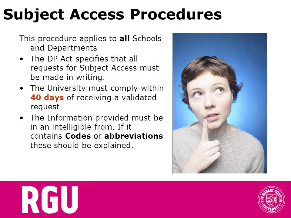 Subject Access Procedures