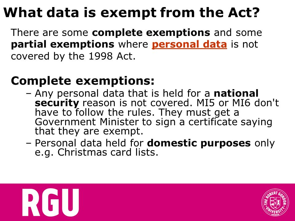 What data is exempt from the Act