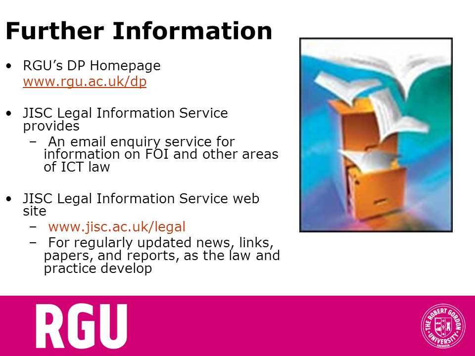 Further Information RGU's DP Homepage www.rgu.ac.uk/dp