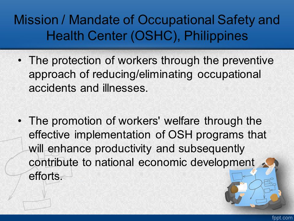 department of occupational safety and h Maryland occupational safety and health (mosh) works to improve the safety and health of maryland's working men and women in both the public and private sector by providing consultation services, outreach and educational programs, establishing partnerships, setting and enforcing standards, and encouraging continual process.