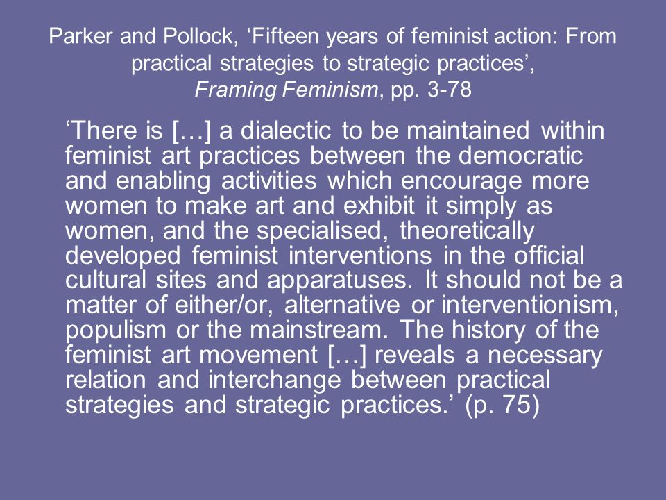 Parker and Pollock, 'Fifteen years of feminist action: From practical strategies to strategic practices', Framing Feminism, pp. 3-78