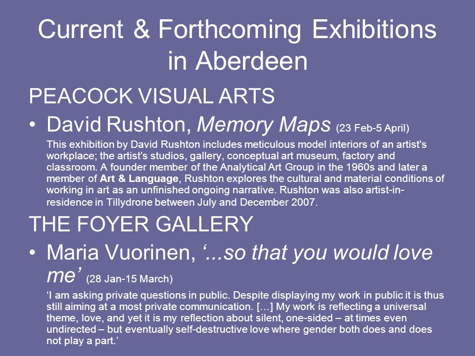 Current & Forthcoming Exhibitions in Aberdeen