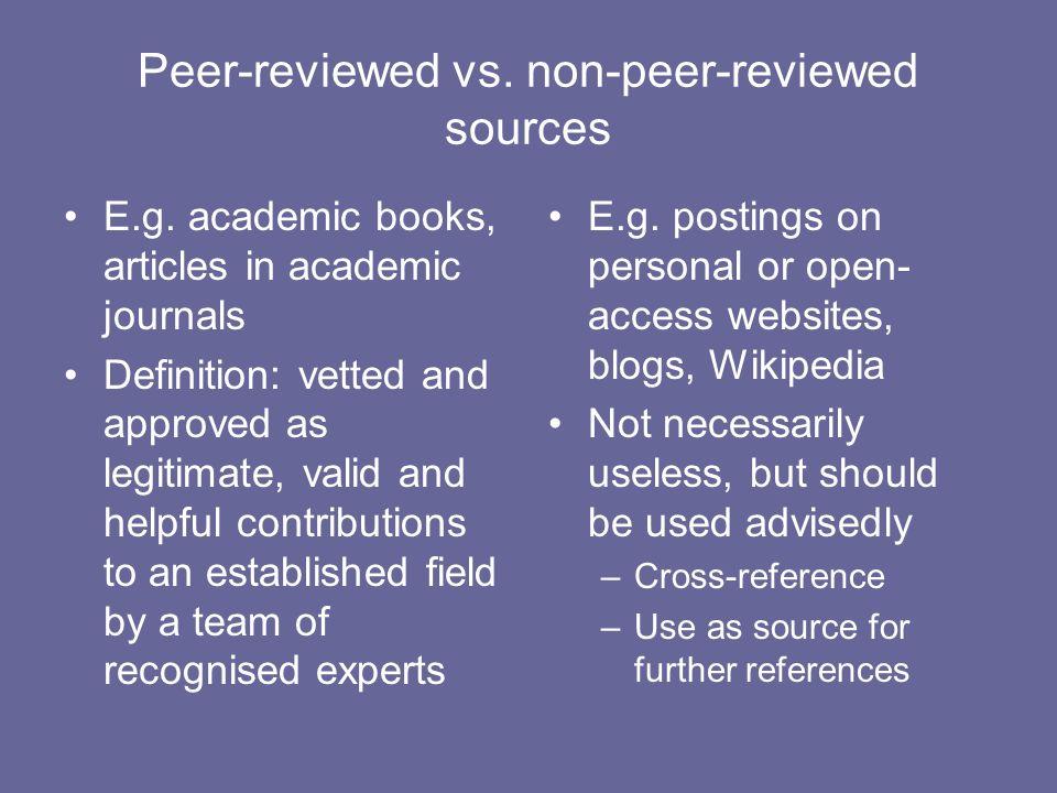 Peer-reviewed vs. non-peer-reviewed sources