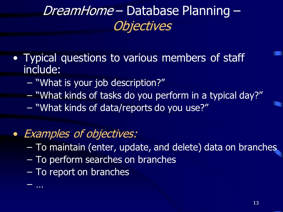 DreamHome – Database Planning – Objectives