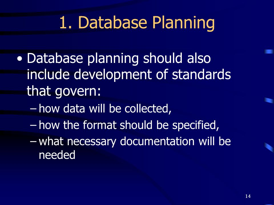 1. Database Planning Database planning should also include development of standards that govern: how data will be collected,