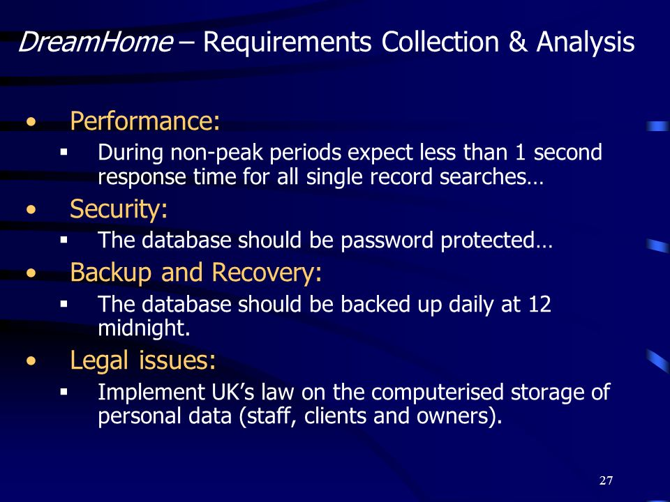 DreamHome – Requirements Collection & Analysis