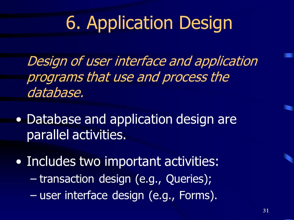 6. Application Design Design of user interface and application programs that use and process the database.