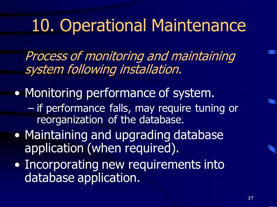 10. Operational Maintenance