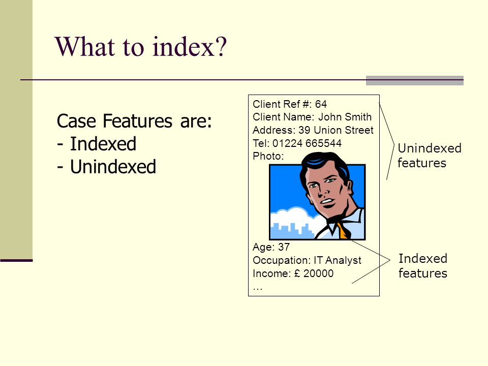 What to index Case Features are: Indexed Unindexed Unindexed features