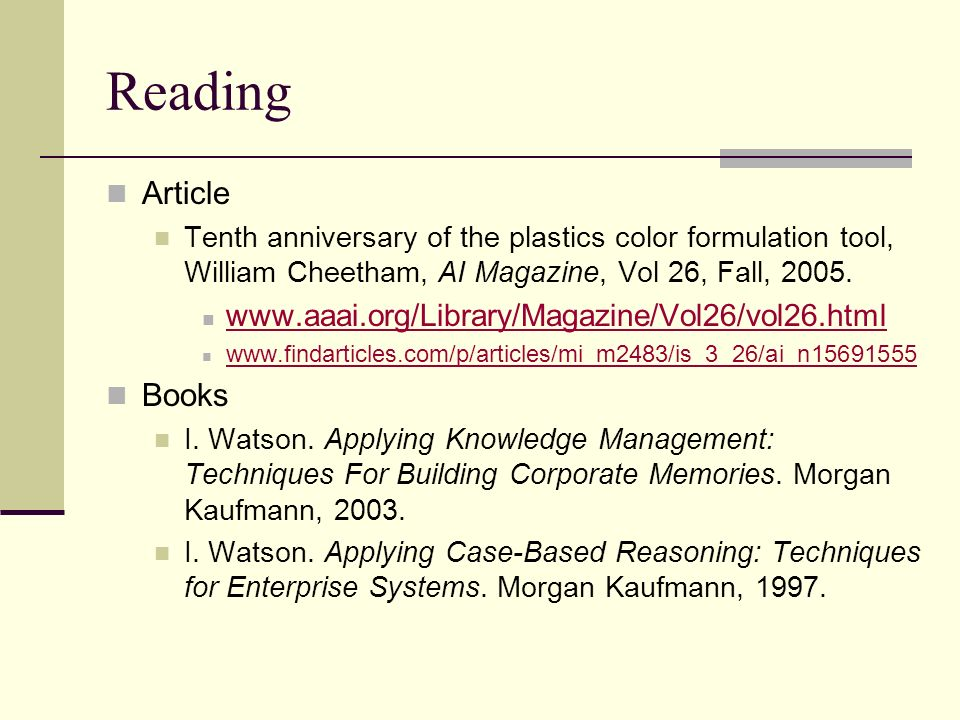 Reading Article Books www.aaai.org/Library/Magazine/Vol26/vol26.html