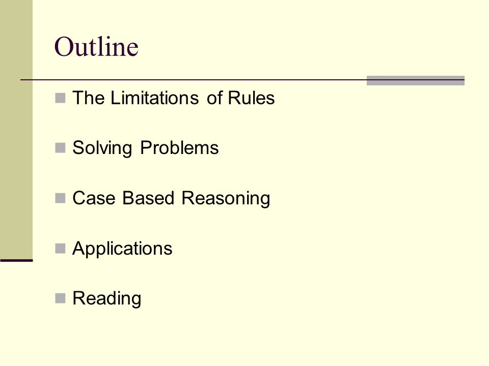 Outline The Limitations of Rules Solving Problems Case Based Reasoning