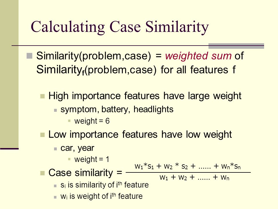 Calculating Case Similarity