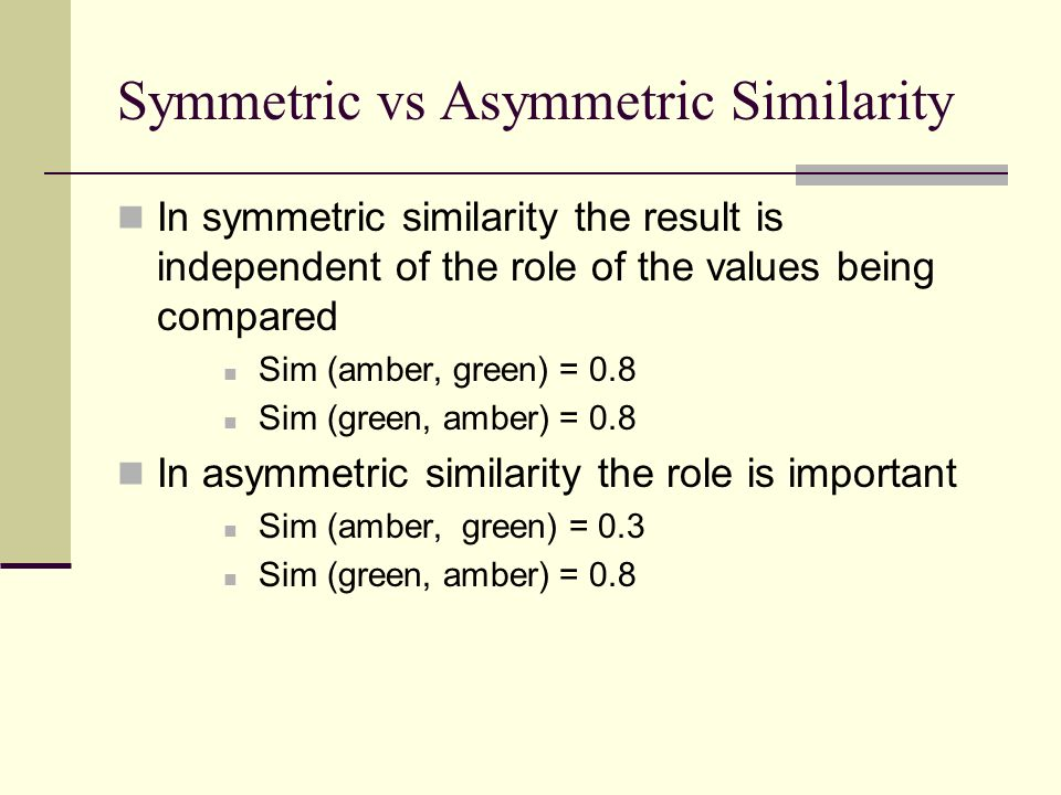 Symmetric vs Asymmetric Similarity