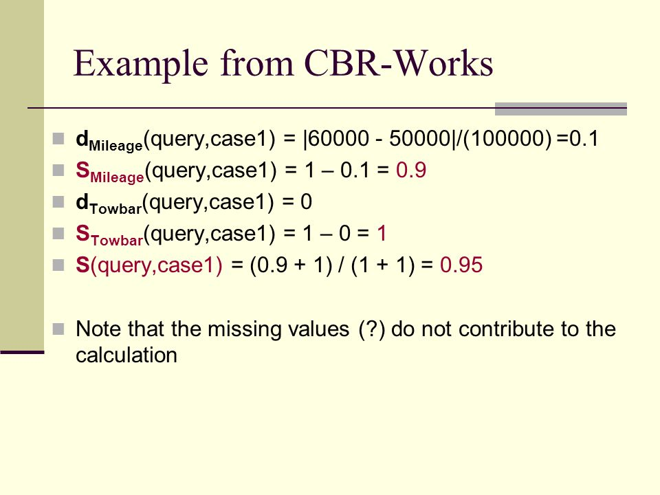 Example from CBR-Works