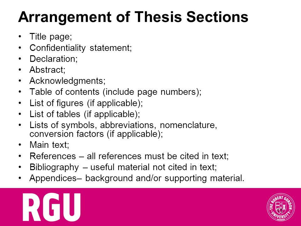 Arrangement of Thesis Sections