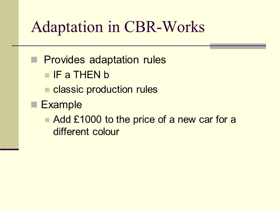 Adaptation in CBR-Works
