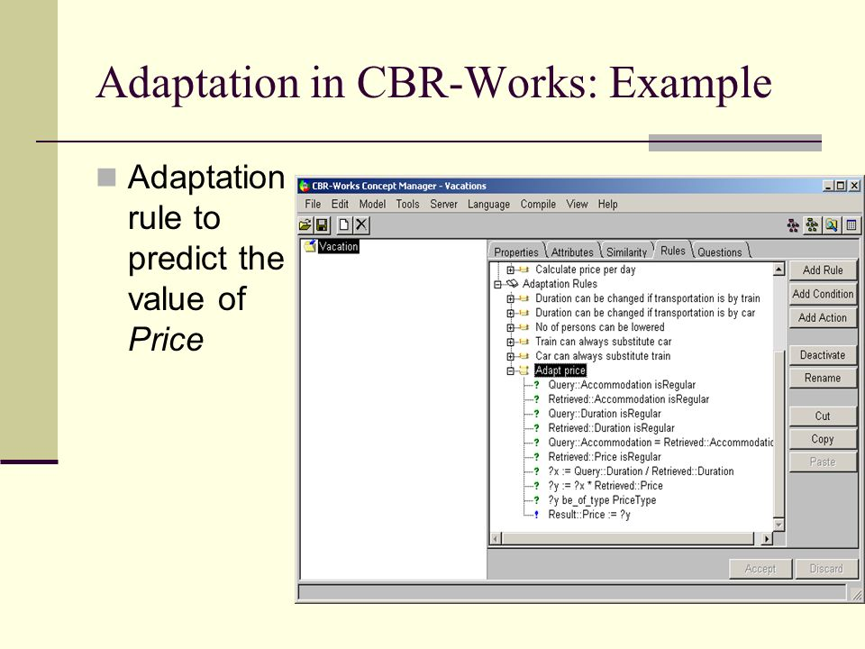 Adaptation in CBR-Works: Example
