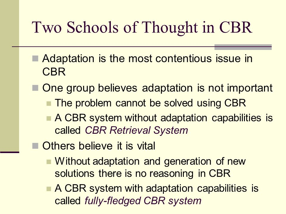 Two Schools of Thought in CBR