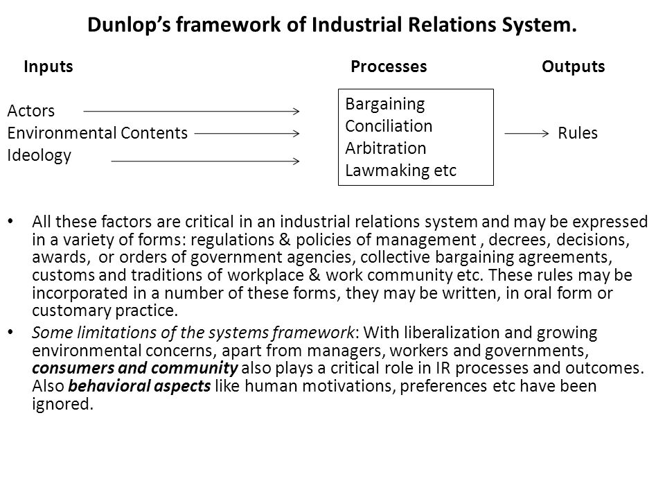 john dunlop's industrial relations systems Nevertheless, john dunlop, a key figure in industrial relations theory, continues to argue (in a 1998 article in advances in industrial and labor relations) for the advantages of industrial relations systems theory over other theoretical disciplines (eg, economics), and contends that industrial relations is a genuine discipline.