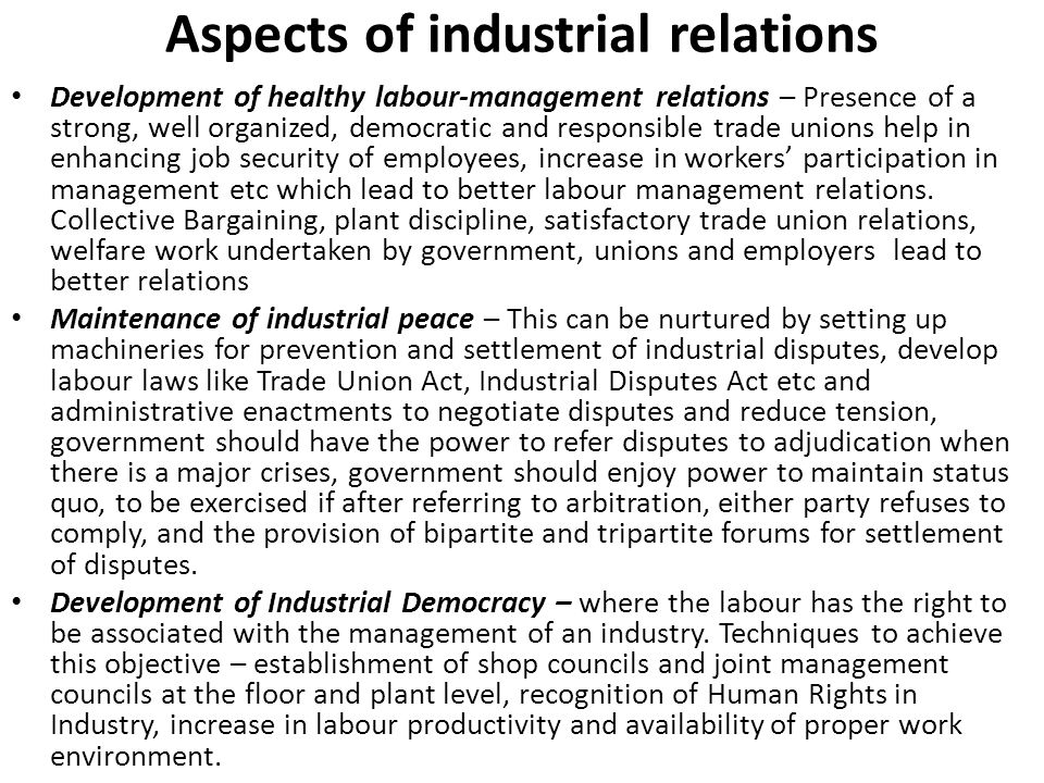 Aspects of industrial relations