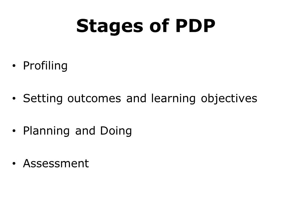 Stages of PDP Profiling Setting outcomes and learning objectives