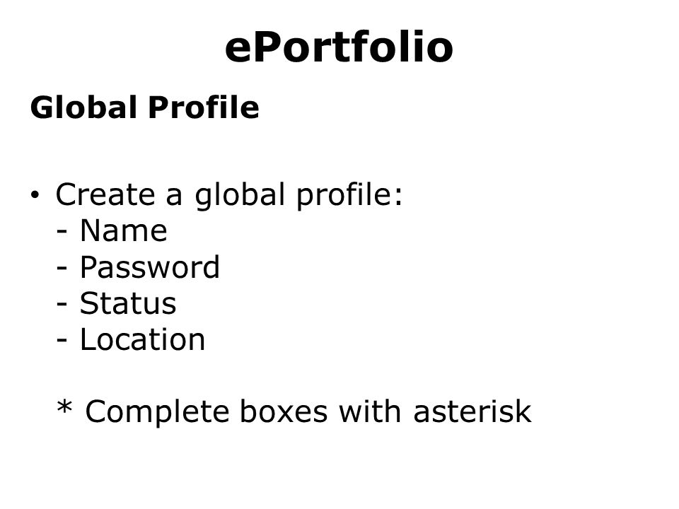 ePortfolio Global Profile