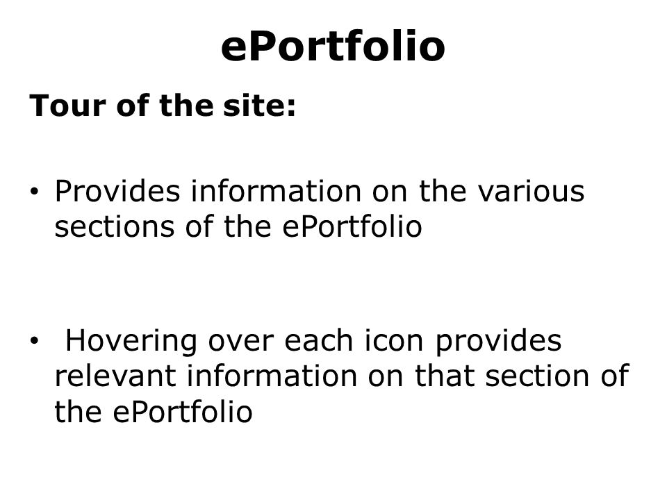 ePortfolio Tour of the site: