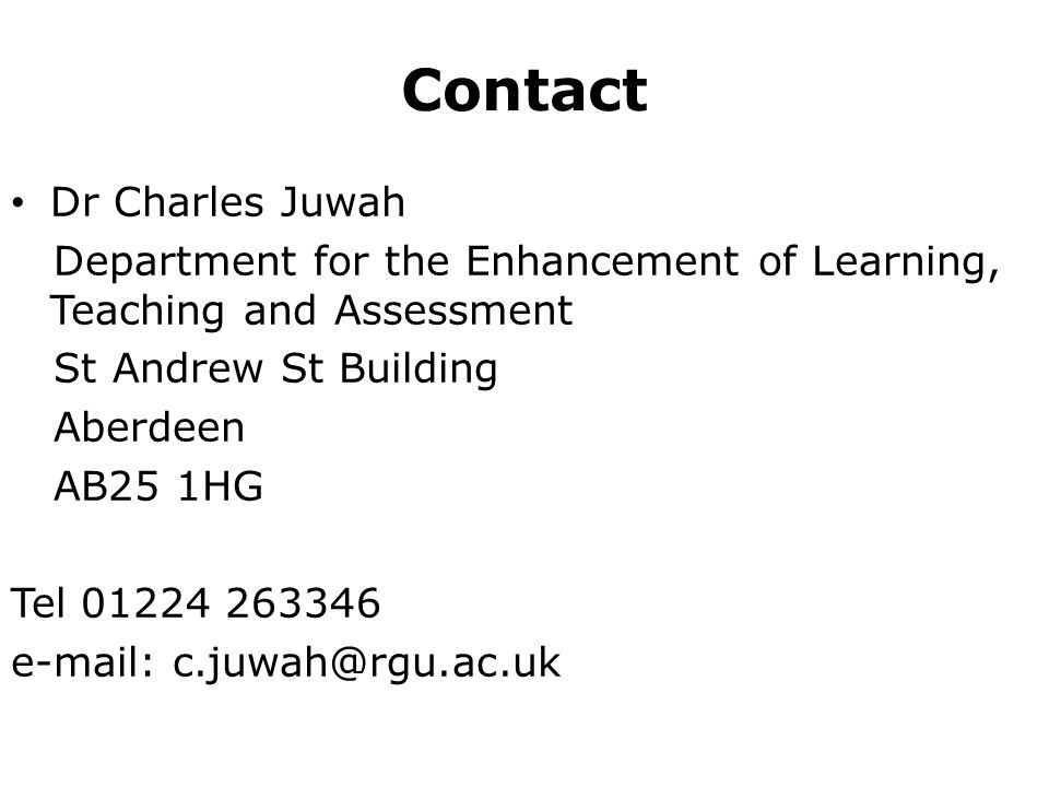 Contact Dr Charles Juwah