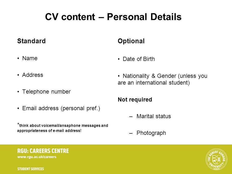 CV content – Personal Details