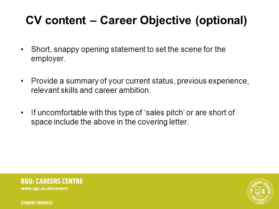 CV content – Career Objective (optional)