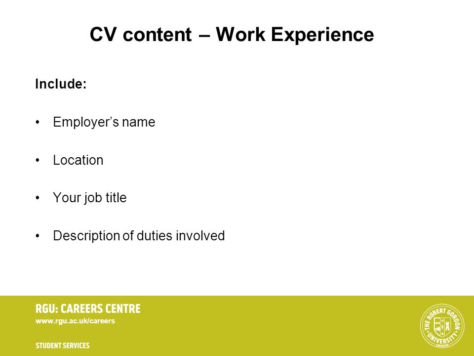 CV content – Work Experience