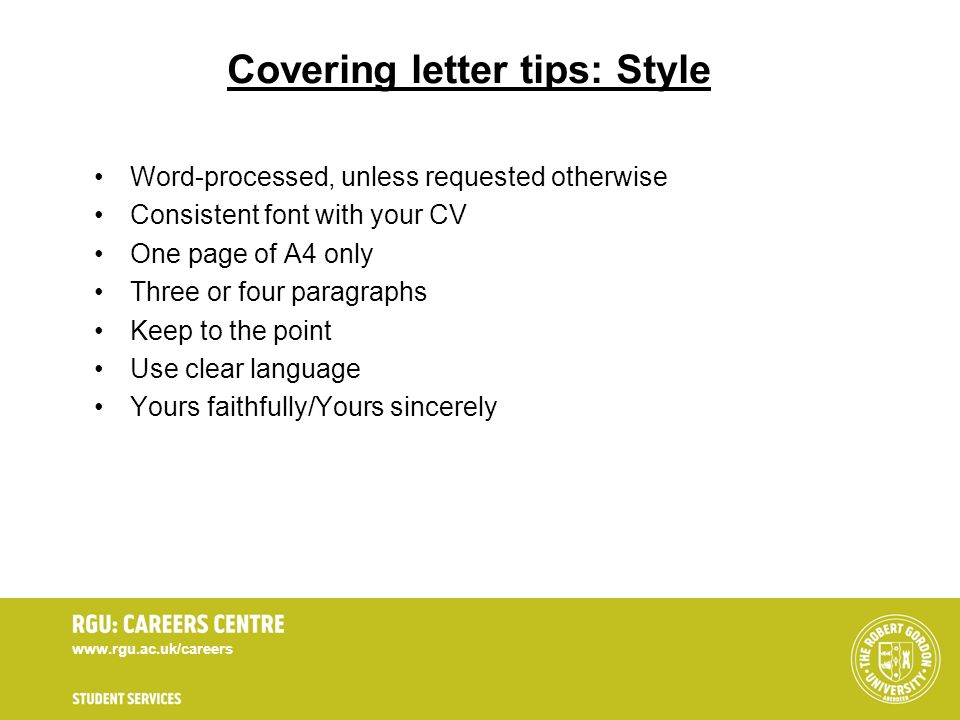 Covering letter tips: Style