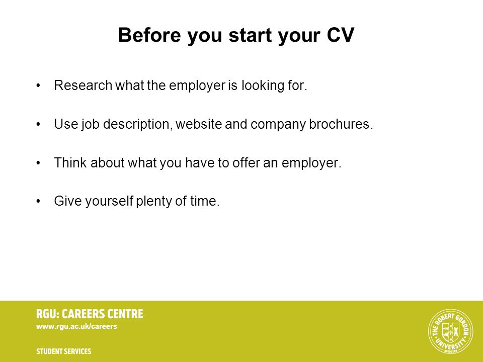 Before you start your CV