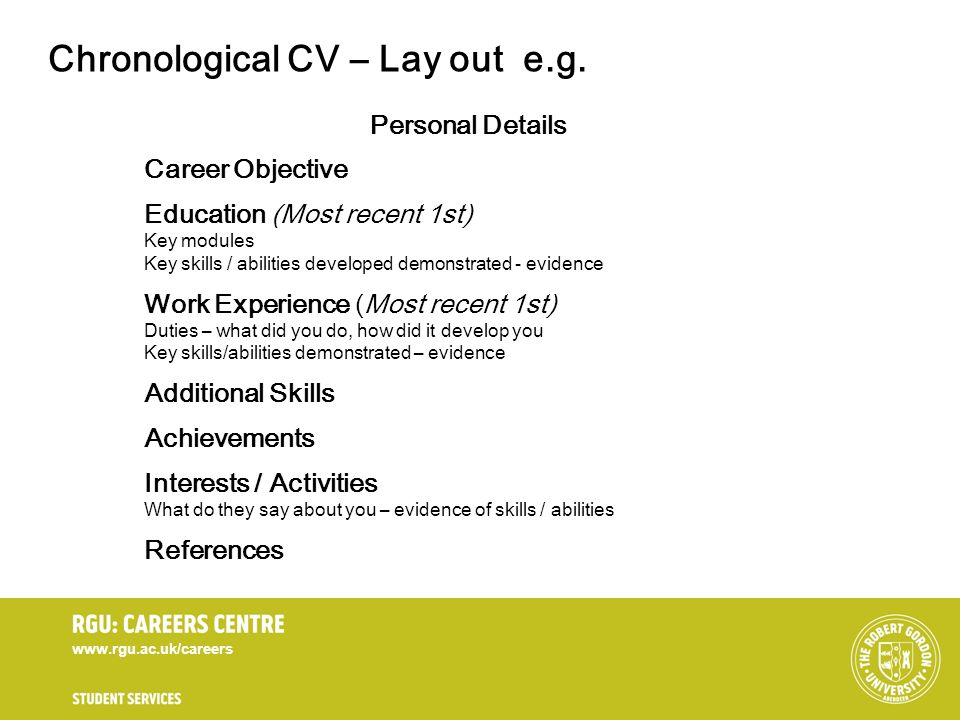 Chronological CV – Lay out e.g.
